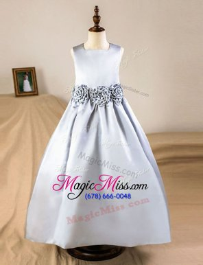 Glorious Floor Length Silver Flower Girl Dresses Square Sleeveless Zipper
