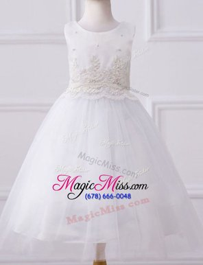 Scoop Sleeveless Flower Girl Dresses Floor Length Beading and Appliques White Tulle
