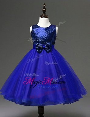 Classical Scoop Ankle Length Zipper Flower Girl Dress Navy Blue and In for Party and Wedding Party with Sequins