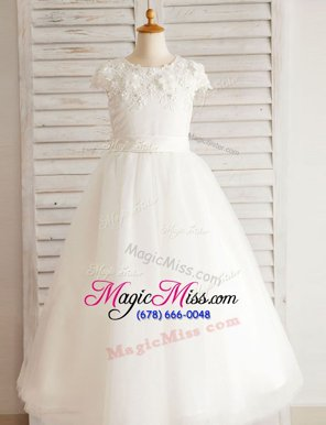 Artistic Scoop Beading and Appliques Flower Girl Dress White Zipper Cap Sleeves Floor Length