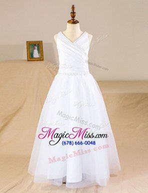 Elegant Floor Length White Flower Girl Dresses Tulle Sleeveless Beading