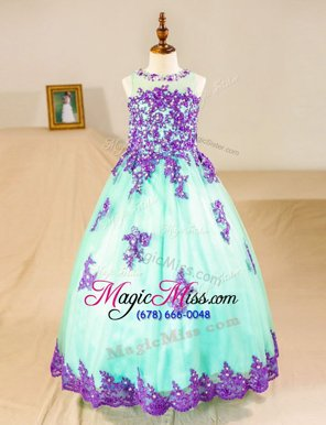 Stunning Scoop Sleeveless Tulle Floor Length Zipper Flower Girl Dresses for Less in Turquoise for with Beading and Lace