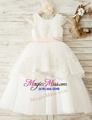 Trendy Scoop Cap Sleeves Organza Floor Length Zipper Flower Girl Dresses for Less in White for with Lace and Bowknot
