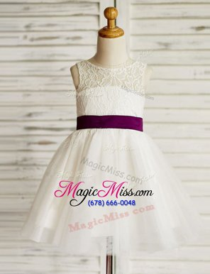 Stunning Scoop White A-line Lace and Bowknot Flower Girl Dresses for Less Zipper Tulle Sleeveless Mini Length