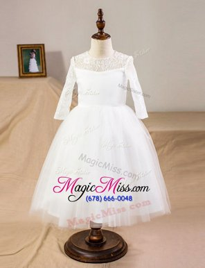 Dazzling Tulle Scoop Half Sleeves Clasp Handle Lace Flower Girl Dresses in White