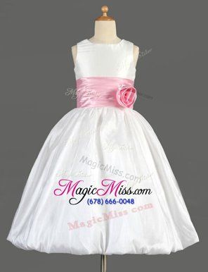 Free and Easy Scoop Sleeveless Flower Girl Dresses Floor Length Bowknot and Hand Made Flower White Taffeta
