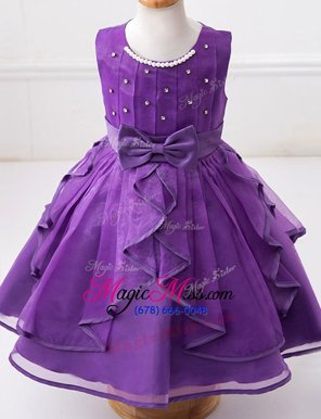 Scoop Sleeveless Organza Flower Girl Dresses Beading and Ruffles and Bowknot Zipper