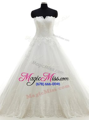 Elegant Lace White Sleeveless Tulle Brush Train Clasp Handle Bridal Gown for Wedding Party