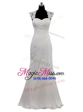 Amazing Sweetheart Cap Sleeves Chiffon Wedding Gowns Lace Side Zipper