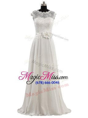 Scoop White Cap Sleeves Lace and Hand Made Flower Floor Length Wedding Dresses