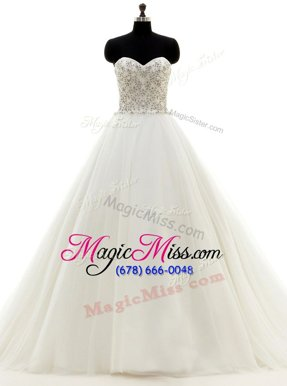 Superior With Train Clasp Handle Wedding Gowns White and In for Wedding Party with Beading Brush Train