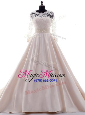 Top Selling Scalloped Pink Clasp Handle Wedding Gown Beading and Lace 3|4 Length Sleeve With Brush Train