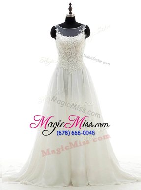 Scoop Lace Wedding Gown White Clasp Handle Sleeveless With Brush Train