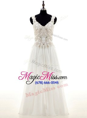 Glorious White Long Sleeves Beading and Lace and Appliques Floor Length Wedding Dress