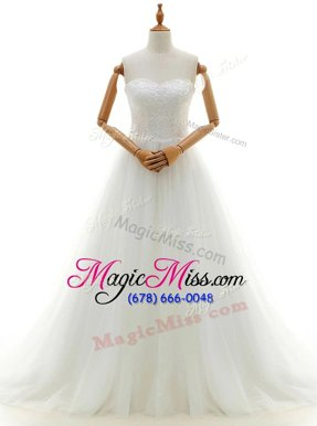 Suitable With Train Clasp Handle Wedding Dress White and In for Wedding Party with Lace Brush Train