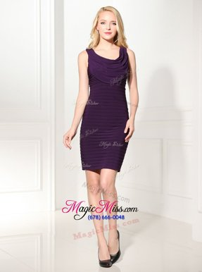 Sweet Black and Navy Blue and Purple Column/Sheath Scoop Sleeveless Silk Like Satin Mini Length Zipper Ruffles