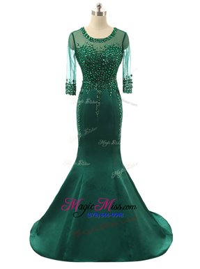 Shining Mermaid Scoop Green Prom Party Dress Satin Brush Train 3|4 Length Sleeve Beading