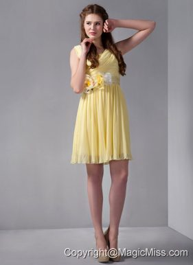 Yellow Empire Straps Mini-length Organza Hand Made Flower Prom Dress