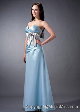 Baby Blue Cloumn Sweetheart Ankle-length Satin Ruch and Bow Bridesmaid Dress