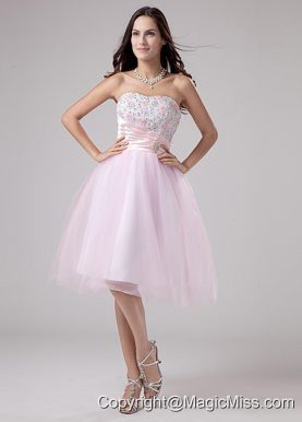 Lace and Beading Strapless Tulle Tea-length A-Line Lace and Beading Prom Dress Pink