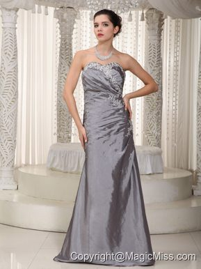 Gray Column Sweetheart Floor-length Elastic Woven Satin Appliques and Beading Prom Dress