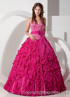 Hot Pink Ball Gown Halter Floor-length Chiffon Embroidery Quinceanera Dress
