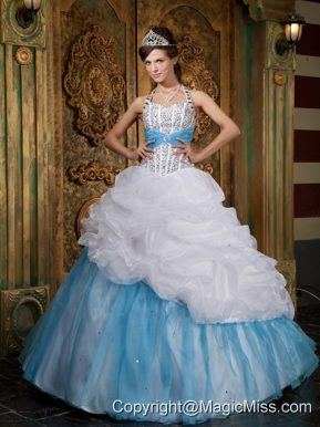 White and Blue A-line / Princess Halter Floor-length Beading Quinceanera Dress