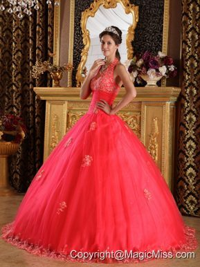 Coral Red Ball Gown Halter Floor-length Appliques Tulle Quinceanera Dress