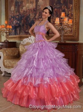 Lavender Ball Gown Halter Floor-length Organza Beading Quinceanera Dress