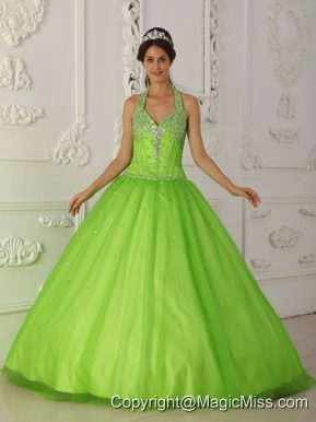 Spring Green A-line Halter Floor-length Tulle Beading Quinceanera Dress