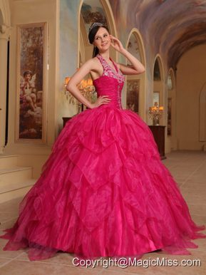 Red Ball Gown Halter Floor-length Organza Embroidery Quinceanera Dress