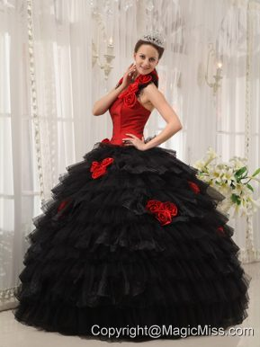 Red and Black Ball Gown Halter Floor-length Taffeta and Organza Hand Flowers Quinceanera Dress