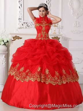Red and Gold Ball Gown Halter Floor-length Taffeta Beading and Appliques Quinceanera Dress