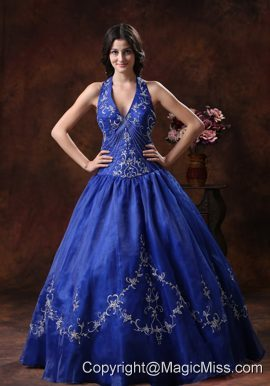 A-line Halter Prom Dress With Embroidery Decorate Organza In 2013 Wickenburg Arizona