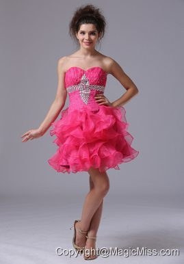 Sweetheart A-Line Mini-length Organza Beading Pink Prom Dress