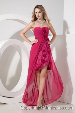 Hot Pink Sweetheart High-low Prom Dress Chiffon and Lace Hand Made Flowers and Embroidery