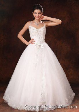 Spaghetti Straps Beaded Bowknot Customize Wedding Dress Whith Lace Tulle In Bay Saint Louis