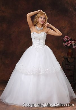 Beading and Embroidery Decorate Sweetheart Neckline Tulle Floor-length Ball Gown 2013 Wedding Dress