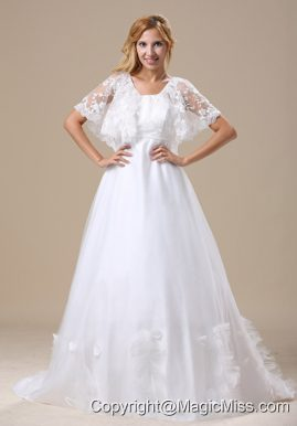 V-neck Custom Made Lace For Wedding Dress Short Sleeves Brush Train