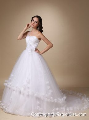 Pretty A-line One Shoulder Chapel Train Taffeta and Tulle Hand Made Flowers Wedding Dress