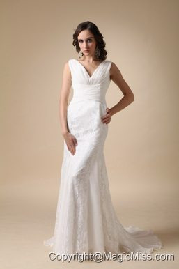 Fashionable Column V-neck Brush Train Chiffon and Lace Ruch Wedding Dress