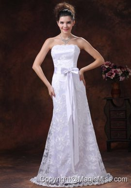 Lace Over Shirt Strapless Column Wedding Dress With Sash