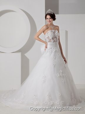 Pretty A-line Strapless Court TrainTulle Beading and Appliques Wedding Dress