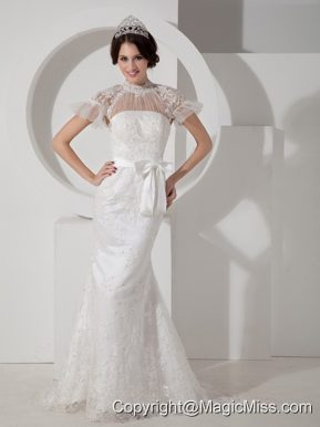 Fashionable Column High-neck Brush Train Satin Lace and Sash Wedding Dress