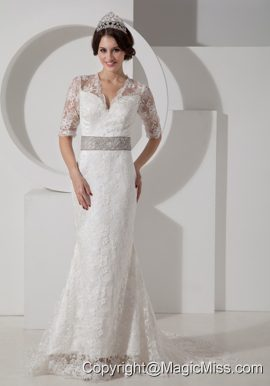 Informal Column V-neck Brush Train Satin Lace and Belt Wedding Dress