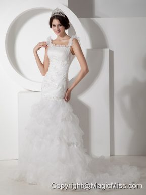 Beautiful Mermaid Straps Court Train Organza Ruch and Appliques Wedding Dress