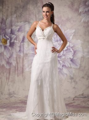 Low Price Column / Sheath Spaghetti Straps Brush Train Lace Beading Wedding Dress
