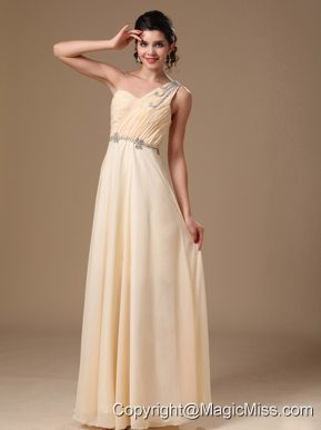Champagne One Shoulder Empire Prom Dress With 2013 New Styles Beaded Decorate Shoulder For Customize