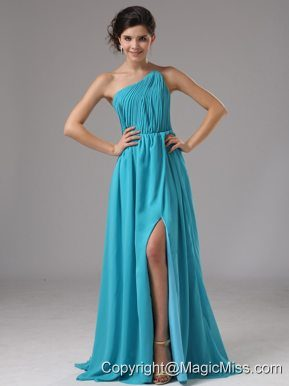 Strapless Chiffon High Slit Aqua Blue Brush/Sweep Prom Dress Ruched In Battle Creek Michigan