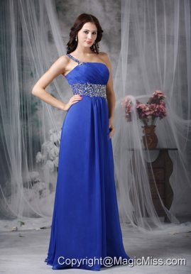 Royal Blue Empire One Shoulder Floor-length Beading Chiffon Prom Dress